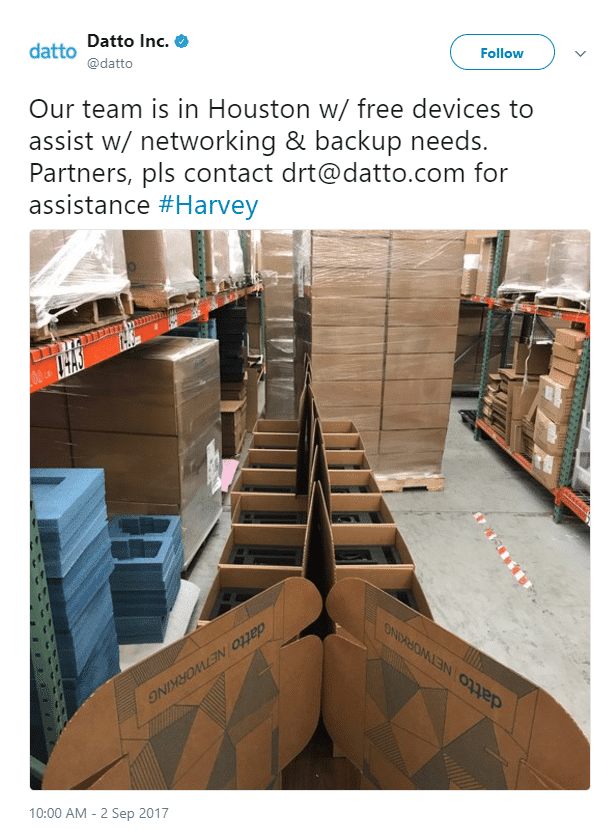 Datto Disaster Recovery Team Tweet - Houston.png